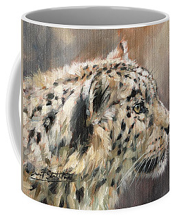 Coffee Mug featuring the painting Snow Leopard Study by David Stribbling