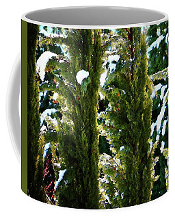 Coffee Mug featuring the photograph Snow On Cypresses by Timothy Bulone