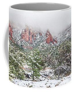 Snow On Red Rock Coffee Mug