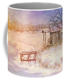Snow On The Fishing Pond Coffee Mug