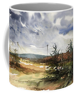Snow Sky In Fall Coffee Mug by Judith Levins