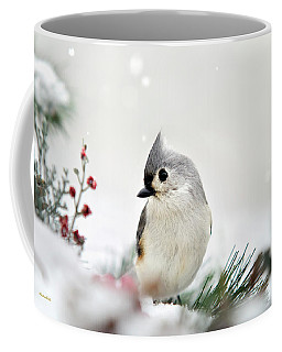 Coffee Mug featuring the photograph Snow White Tufted Titmouse by Christina Rollo