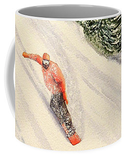 Coffee Mug featuring the painting Snowboarding Free And Easy by Bill Holkham
