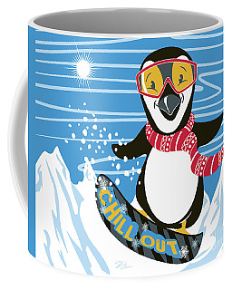 Snowboarding Penguin Coffee Mug