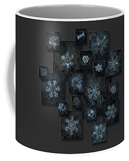 Coffee Mug featuring the photograph Snowflake Collage - Dark Crystals 2012-2014 by Alexey Kljatov
