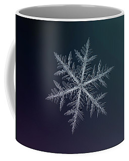 Coffee Mug featuring the photograph Snowflake Photo - Neon by Alexey Kljatov