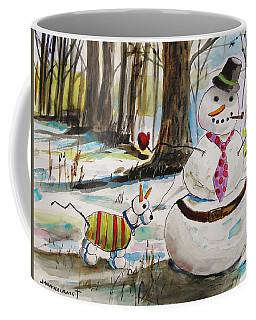 Snowman And Snowdog Coffee Mug by John Williams