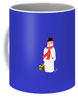 Coffee Mug featuring the digital art Snowman by Barbara Moignard