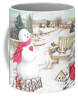 Snowman Cardinal In Winter Garden Coffee Mug