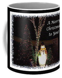Coffee Mug featuring the photograph Snowman Greetings by Ellen O'Reilly