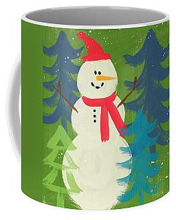 Snowman In Red Hat-art By Linda Woods Coffee Mug