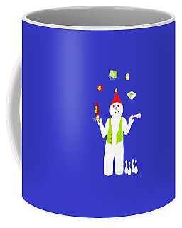 Coffee Mug featuring the digital art Snowman Juggler by Barbara Moignard
