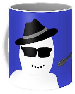 Coffee Mug featuring the digital art Snowman Musician by Barbara Moignard