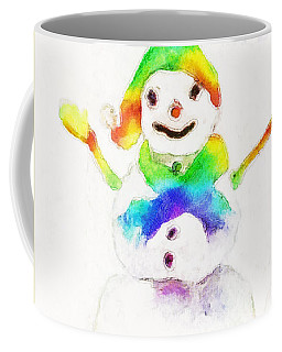 Coffee Mug featuring the painting Snowman With Rainbow 1 by Claire Bull