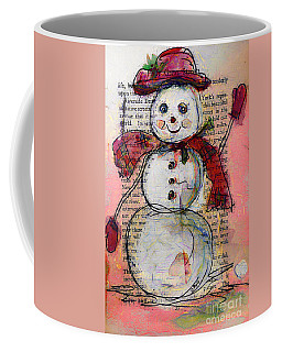 Snowman With Red Hat And Mistletoe Coffee Mug