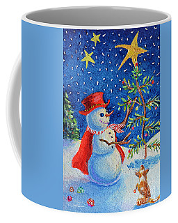 Coffee Mug featuring the painting Snowmas Christmas by Li Newton