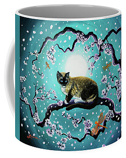 Snowshoe Cat And Dragonfly In Sakura Coffee Mug by Laura Iverson