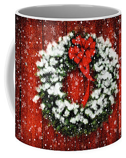 Snowy Christmas Wreath Coffee Mug