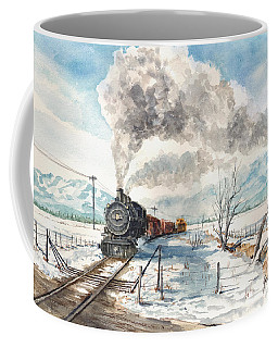 Coffee Mug featuring the painting Snowy Crossing by Sam Sidders