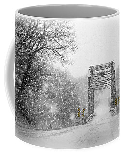 Snowy Day And One Lane Bridge Coffee Mug