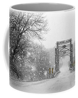 Snowy Day And One Lane Bridge Coffee Mug by Kathy M Krause