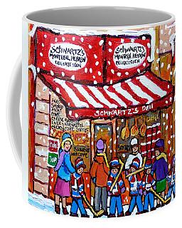 Snowy Day Rue St Laurent Montreal Winter Scene Schwartz Hockey Carolespandau                     Coffee Mug