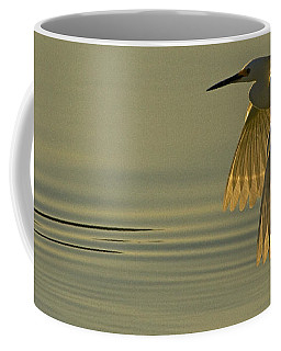 Coffee Mug featuring the photograph Snowy Egret At Dusk-signed-#6037 by J L Woody Wooden