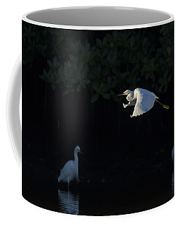 Snowy Egret Gliding In The Morning Light Coffee Mug