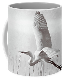 Snowy Egret Morning Bw Coffee Mug