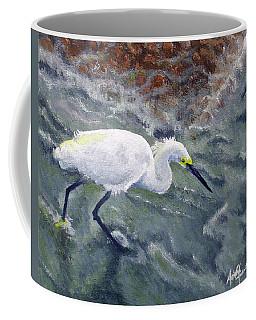 Snowy Egret Near Jetty Rock Coffee Mug