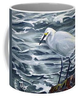 Snowy Egret On Jetty Rock Coffee Mug
