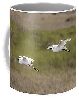 Snowy Egret Pair Flying Across A Plain Coffee Mug