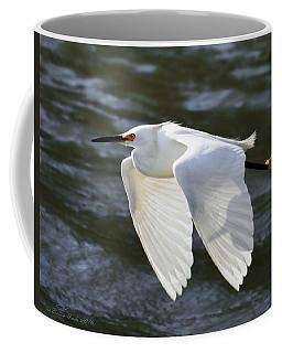 Snowy Egret Soaring Coffee Mug