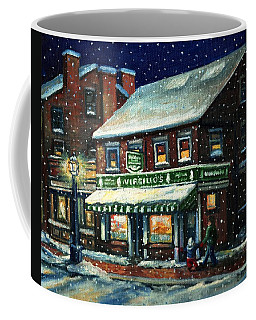 Snowy Evening In Gloucester, Ma Coffee Mug