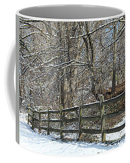 Coffee Mug featuring the photograph Winter Fence by Melinda Blackman