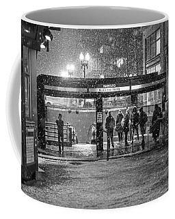 Snowy Harvard Square Night- Harvard T Station Black And White Coffee Mug