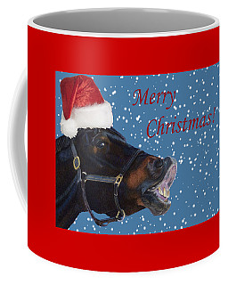 Snowy Horse Jumping Christmas Coffee Mug
