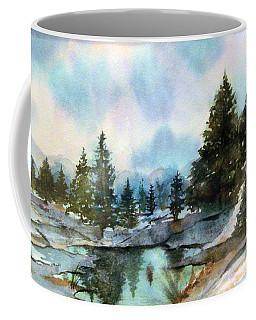 Snowy Lake Reflections Coffee Mug
