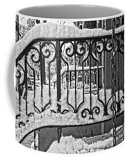 Coffee Mug featuring the painting Snowy Nyc Steps by Joan Reese
