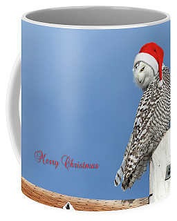 Coffee Mug featuring the photograph Snowy Owl Christmas Card by Everet Regal