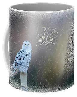 Snowy Owl Christmas Greeting Coffee Mug