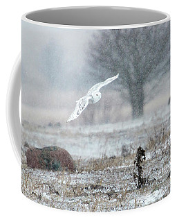 Coffee Mug featuring the photograph Snowy Owl In Flight 2 by Gary Hall