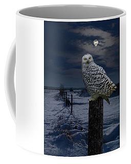 Snowy Owl On A Winter Night Coffee Mug