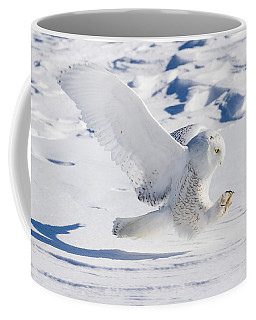 Coffee Mug featuring the photograph Snowy Owl Pouncing by Rikk Flohr