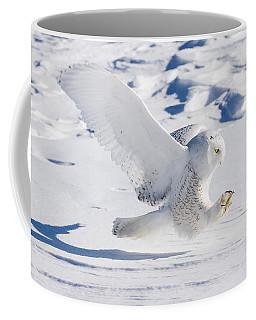 Snowy Owl Pouncing Coffee Mug by Rikk Flohr