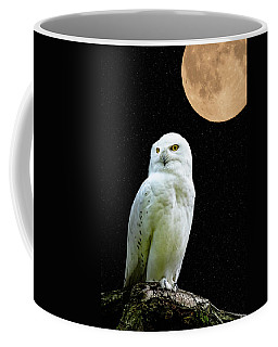 Coffee Mug featuring the photograph Snowy Owl Under The Moon by Scott Carruthers