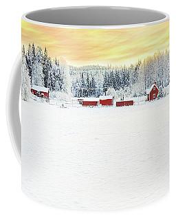 Snowy Ranch At Sunset Coffee Mug