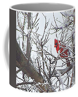Snowy Red Bird A Cardinal In Winter Coffee Mug