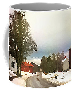 Snowy Street With Red House Coffee Mug