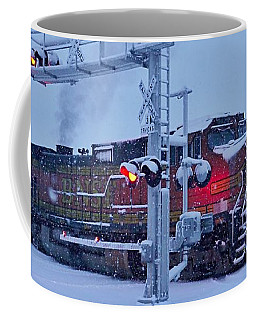 Snowy Train Crossing  Coffee Mug